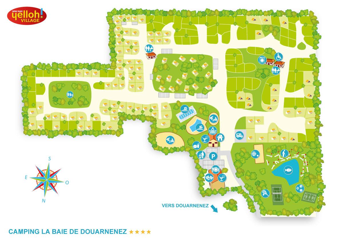 Le Petit Bois Saint Malo - Camping Frankrijk Bretagne plattegrond van de camping CAMPING YELLOH! VILLAGE DE LA BAIE DE